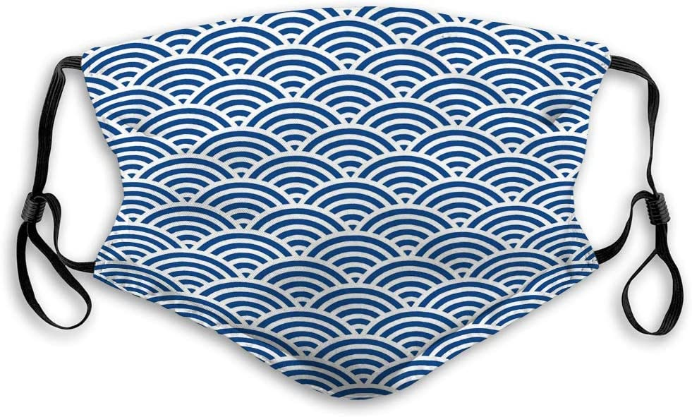 Amazon Com 573 Adjustable And Replaceable Outdoor Mask Japanese Wave Pattern Blue Dark Blue Style Vintage Refreshing Home Kitchen
