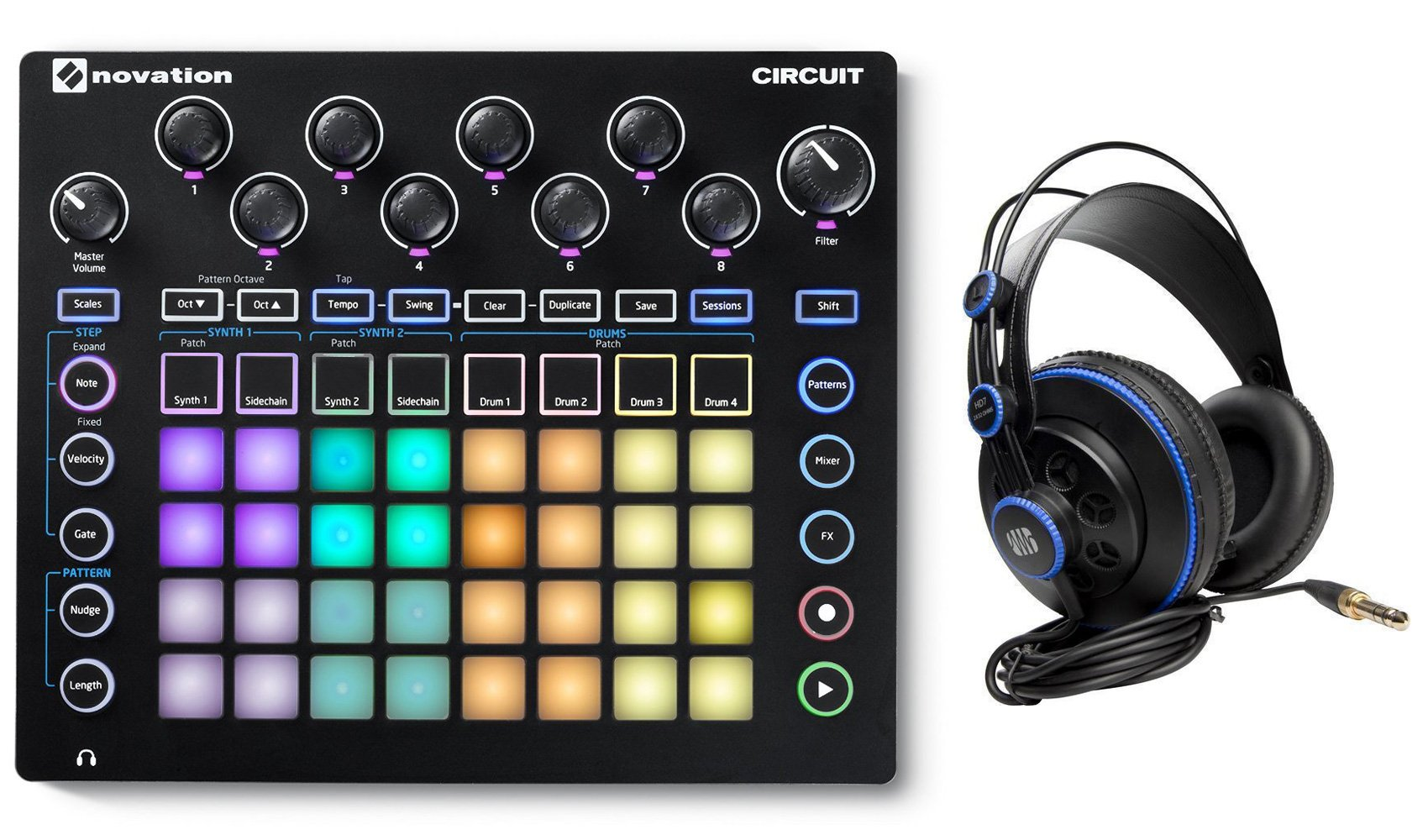 Novation CIRCUIT Groove Box Music Controller Pad/Drum Machine+Monitor Headphones