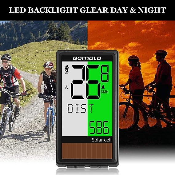 Computer Bike Odometer Temperature Qomolo Bicycle Computer, 2021 Muti-Function Cycling Cycle Computer with Stopwatch Waterproof Wireless Bike Speedometer Time