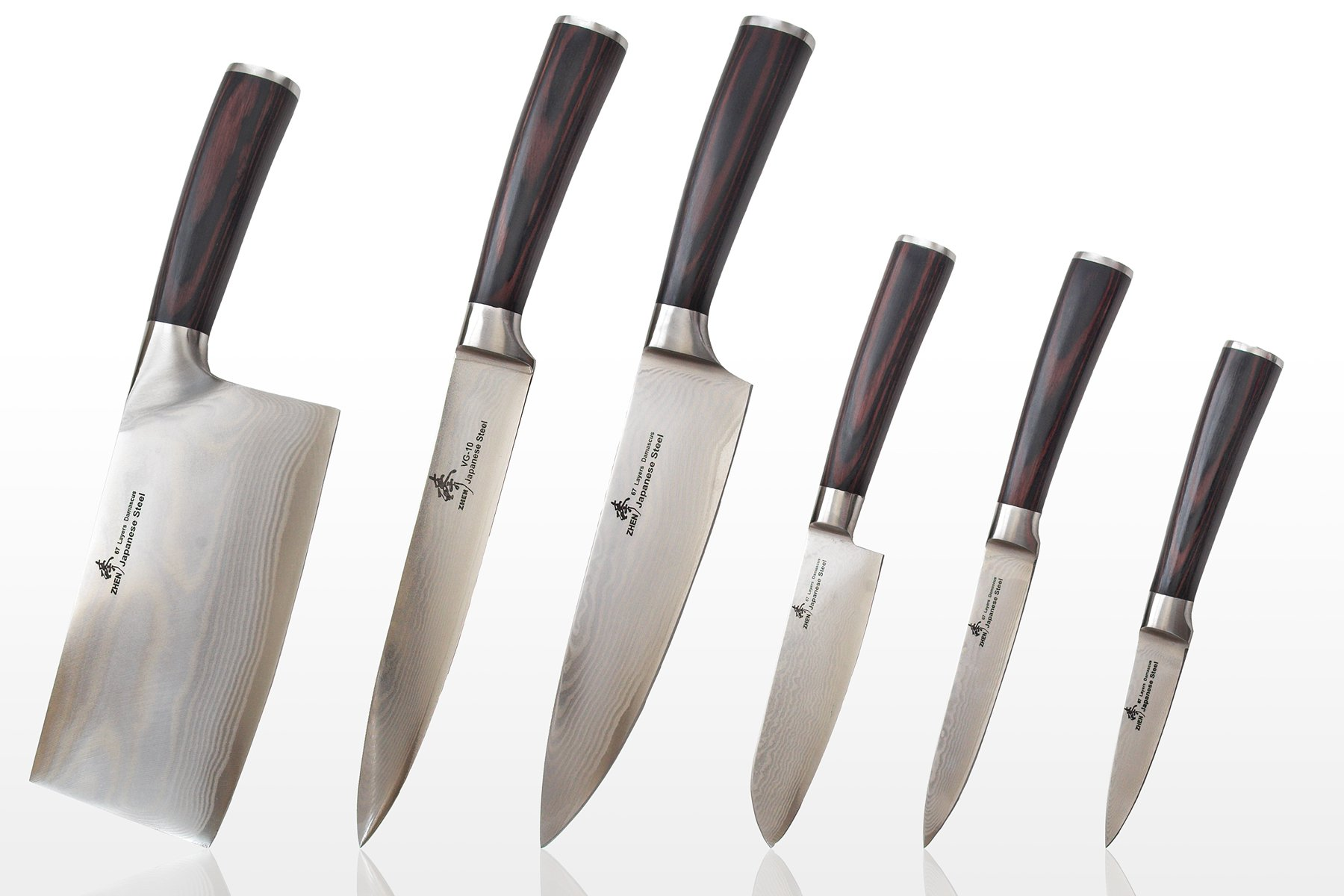 Zhen Japanese Damascus VG-10 Knife set, 6-piece