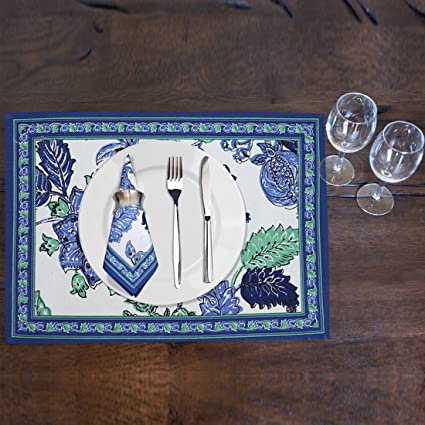Cloth Fusion Cotton 6 Piece Dining Table Mats with 6 Pieces Napkins (Lagon, Mat - 13x19-inch, Napkin - 18x18-inch)