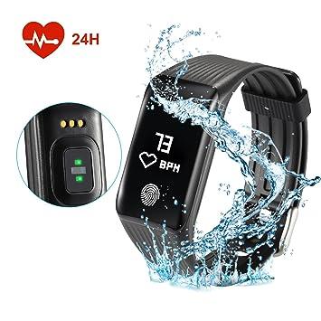 FITFIRST Montre Connectée Bracelet Connecté Etanche IP67 avec Tracker dactivité Cardiomètre Podomètre Compteur Calorie