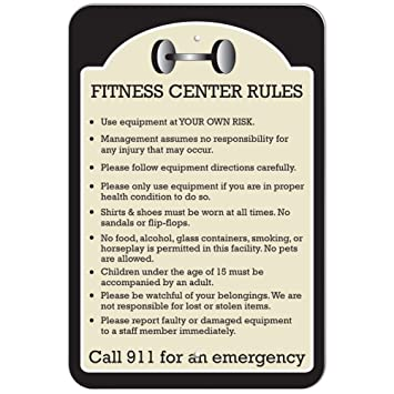 Amazon.com : Plastic Sign Fitness Center Rules - 12