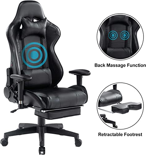 EasySMX Gaming Chair Ergonomic Racing Style High Back PC Computer Game Chair Heavy Duty Big and Tall Reclining Adjustable Swivel Office Desk Chair with Headrest Waist Tilting Video Game Chair 350Lbs