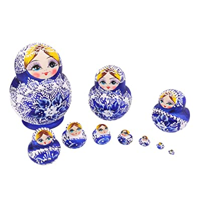 10pcs Muñecas Rusas Matrioska Flores Pintadas a Mano Madera: Juguetes y juegos
