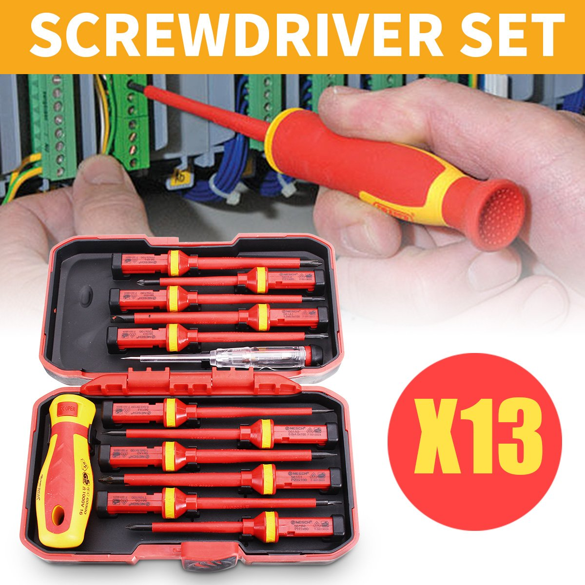 '13Pcs 1000V Electronic Insulated Screwdriver Set Phillips Slotted Torx CR-V Screwdriver Hand Tools' by Kowloon Tool Set
