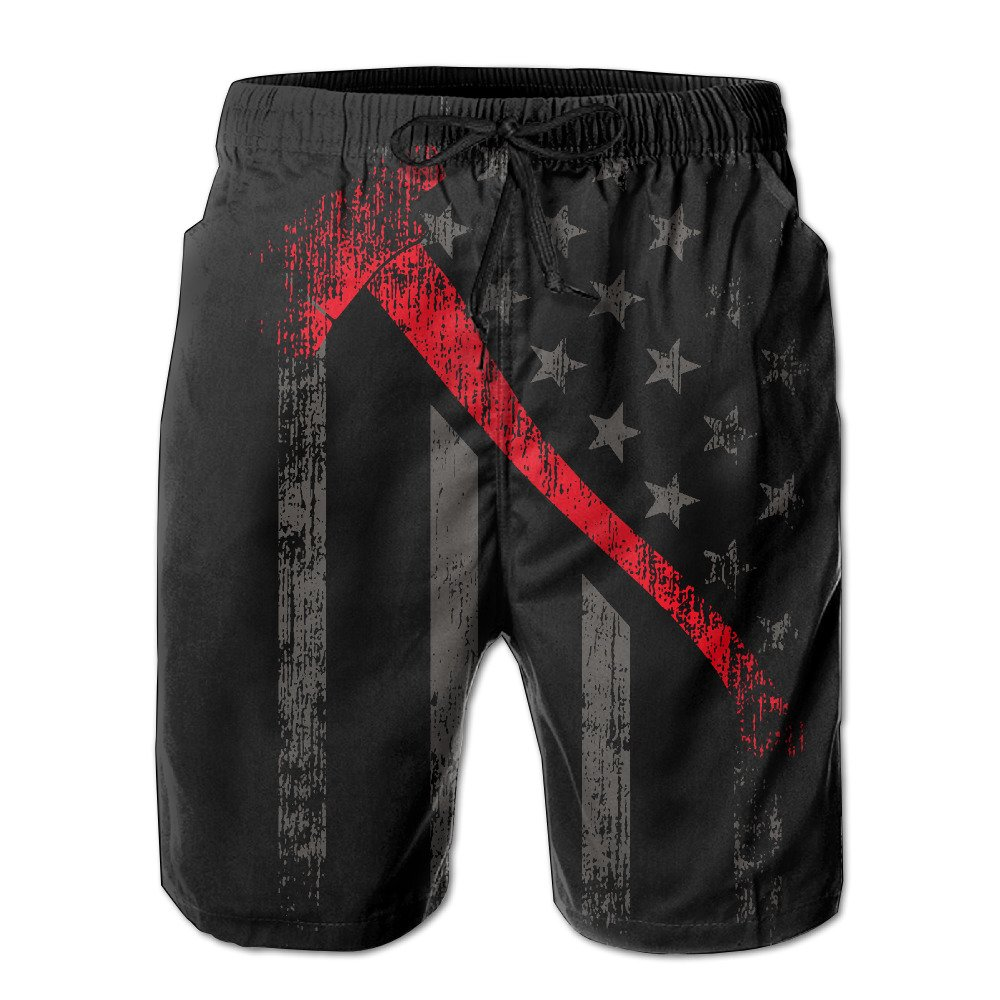 ZQ-SOUTH Mens Thin Red Line Flag Distressed Quick Dry Summer Beach Surfing Board Shorts Swim Trunks Cargo Shorts