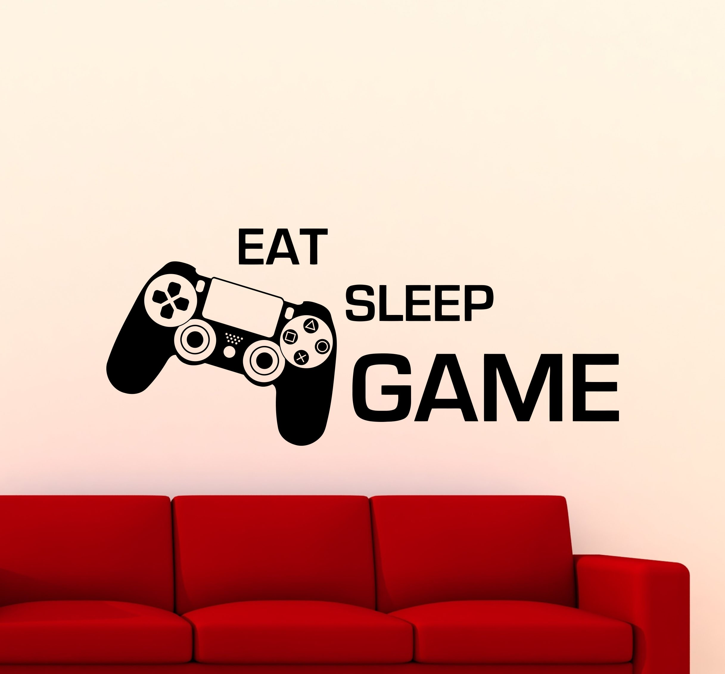 Eat Sleep Game Wall Decal PS4 Controller Gamepad Video Game Quote Playroom Gaming Lettering Gamer Gift Vinyl Sticker Home Nursery Kids Baby Room Art Stencil Decor Mural Removable Poster 118ct