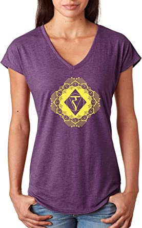 Womens Yoga T-Shirt Diamond Manipura Triblend V-Neck: Amazon ...