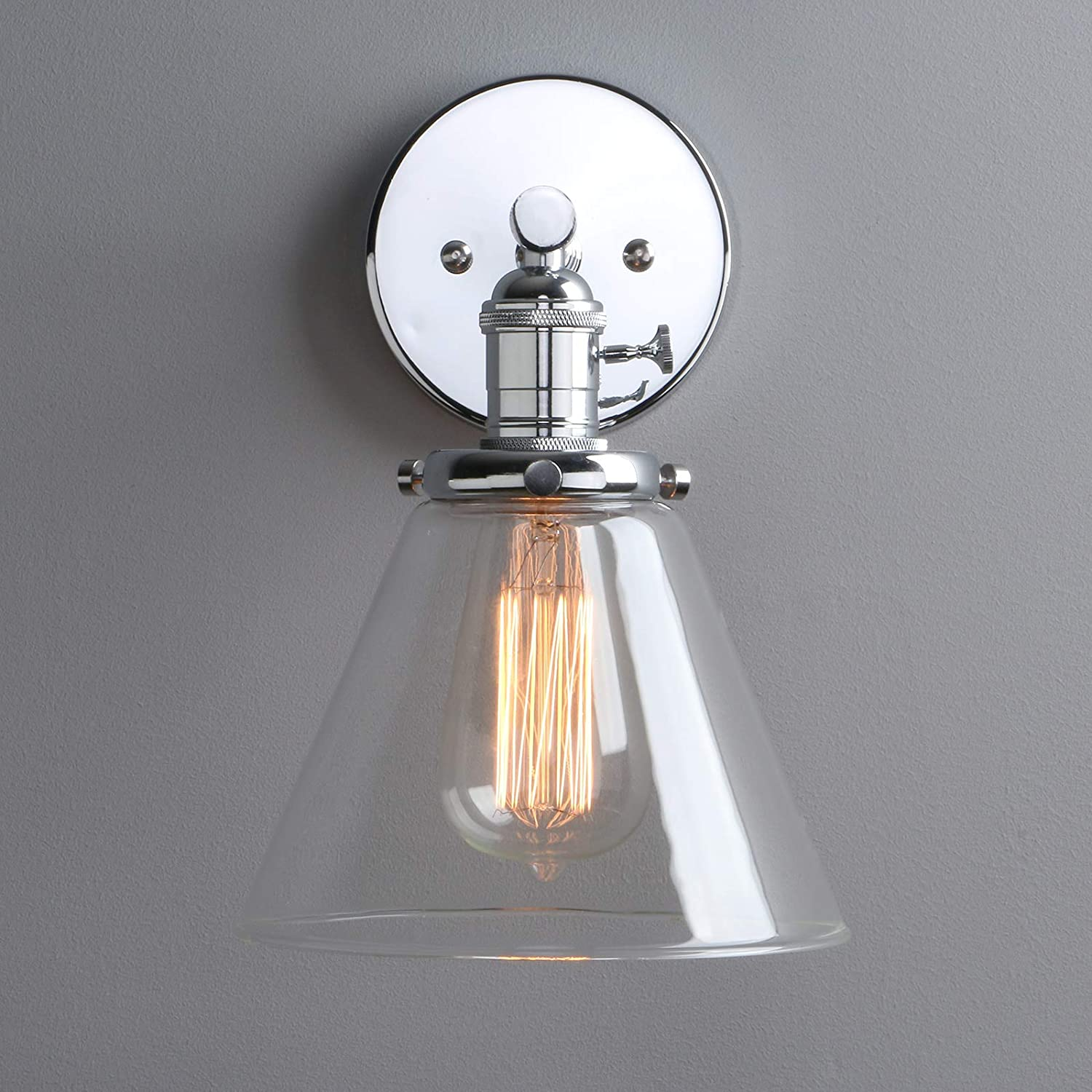 Hallways Phansthy Edison Industrial Wall Sconce 7.3 inch Vintage Brass Glass Wall Light Fixture Decorative Lighting for Kitchen Chrome Living Room