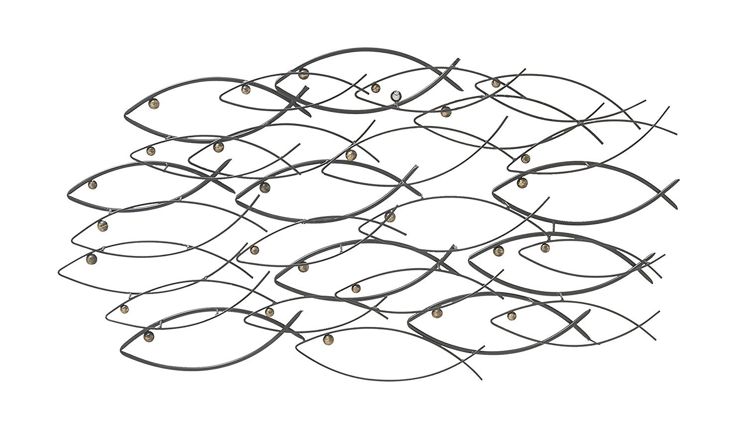 Bellaa 22014 Metal Wall Art School of Fish Beautiful Unique Nautical 40 inch