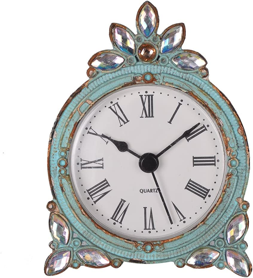 NIKKY HOME Vintage Pewter Quartz Mini Table Clock with Crystal Shining Rhinestone, 2.87 x 1.37 x 3.87 Inches, Aqua