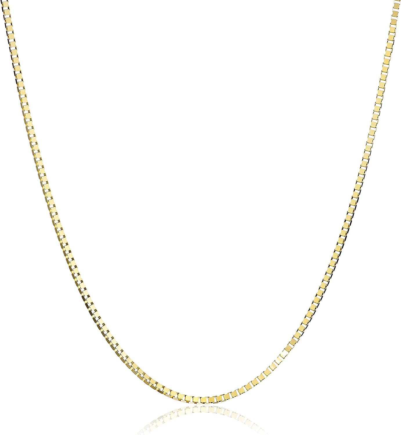 "14K Solid Real Yellow Gold 0.8mm Box Adjustable Chain Necklace 20/"" for Women"