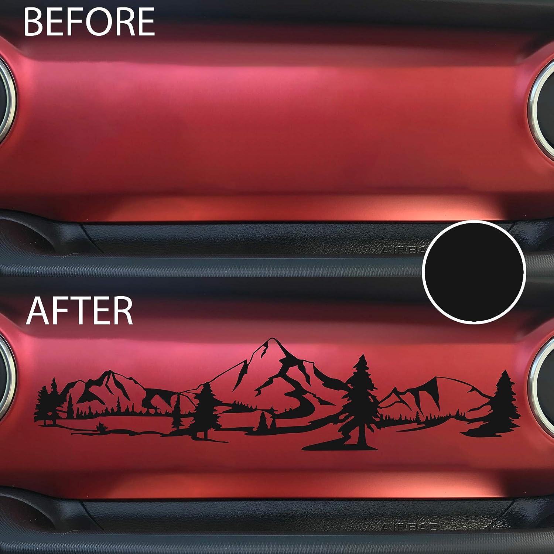 Bogar Tech Designs - Dashboard Glove Box Mountain Scene Vinyl Decal Sticker Compatible with Wrangler and Gladiator, Matte Black