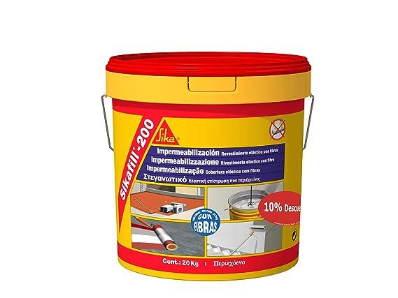 Sikafill-200 fibras, Pintura elástica con fibras para impermeabilización, Rojo teja, 20kg: Amazon.es: Bricolaje y herramientas