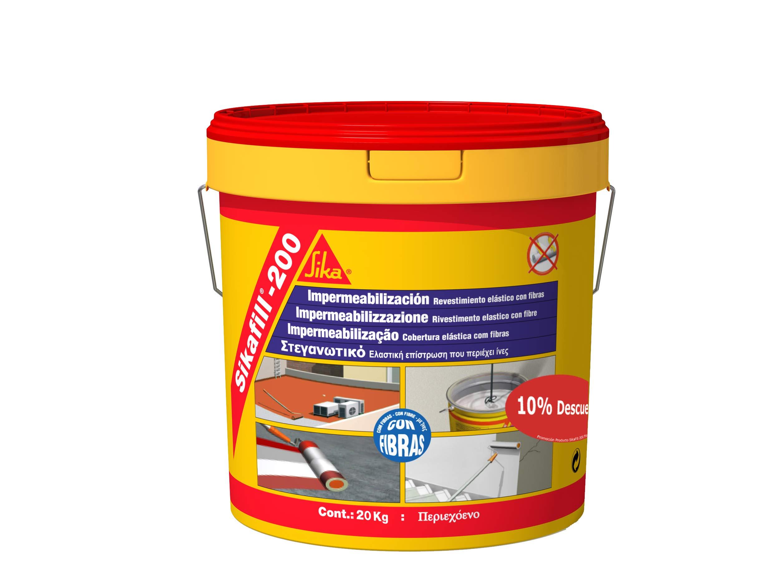 Sikafill-200 fibras, Pintura elástica con fibras para impermeabilización, Blanco, 20kg product