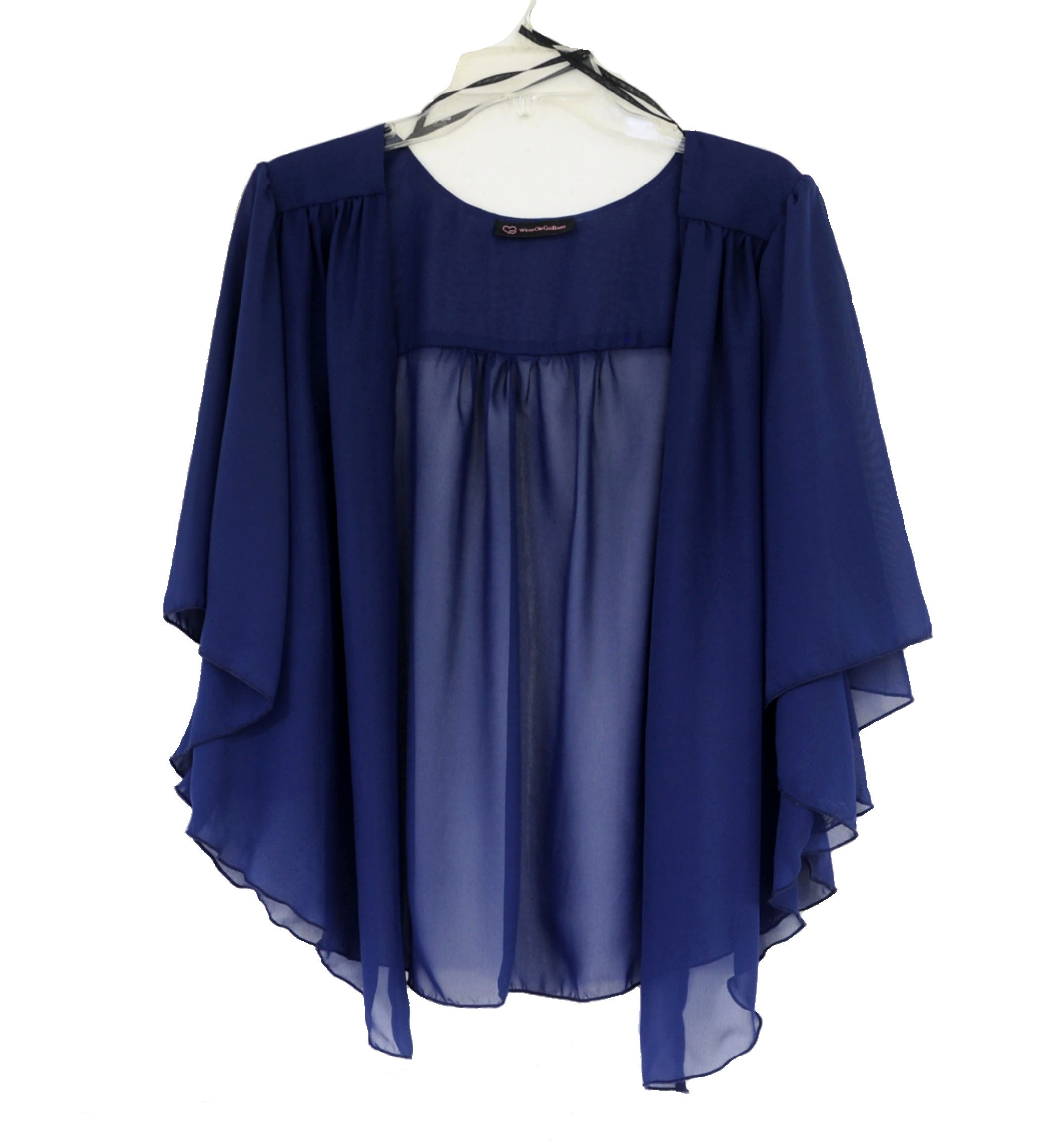 WearOrGoBare Women's Plus Size Cascading Chiffon Bolero Cardigan Shrug Top (1X, Navy)
