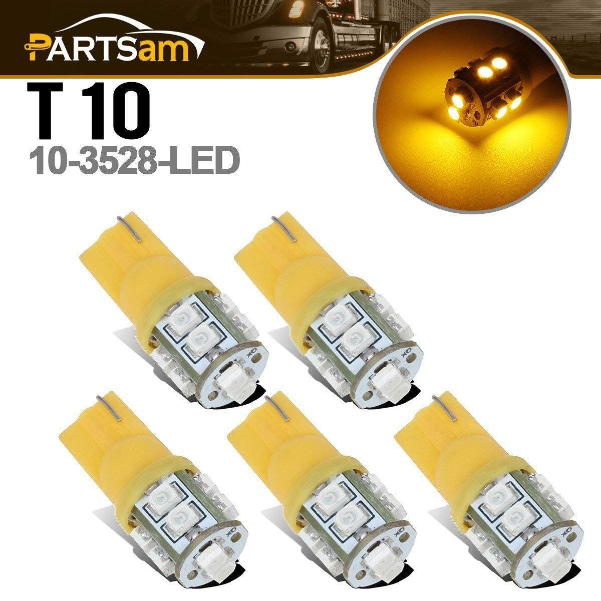 Partsam T10 LED Light Bulbs 5pcs 10-3528-SMD Chipset 194 168 Amber LED Replacement Bulbs for Jeep Ford Dodge Chevrolet GMC Pickup Truck Cab Marker Roof Running Top Clearance Light 12V (Pack of 5)