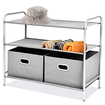 MaidMAX 3 Tiers Closet Shelf Organizer With 2 Drawers For Home Storage And  Organization, Silver