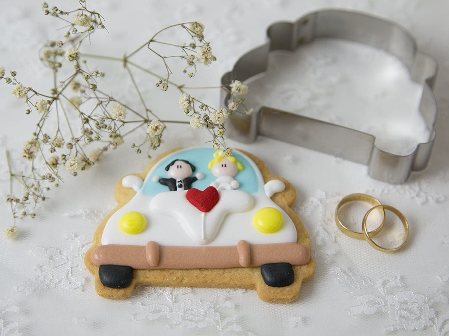 Stainless Steel 9 x 6 x 2 cm Silver decolordulce Wedding Car Cookie Cutter