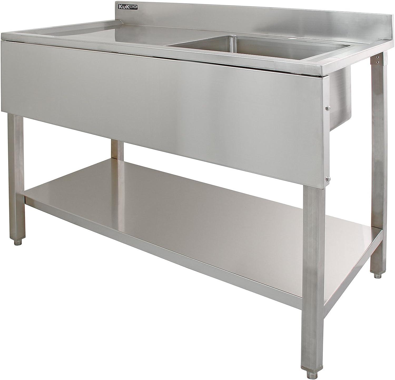 KUKOO Fregadero de Acero Inoxidable Industrial de Cocina 1 Cuba Muebles de Acero Inoxidable para Cocina   120 cm x 60 cm x 90 cm