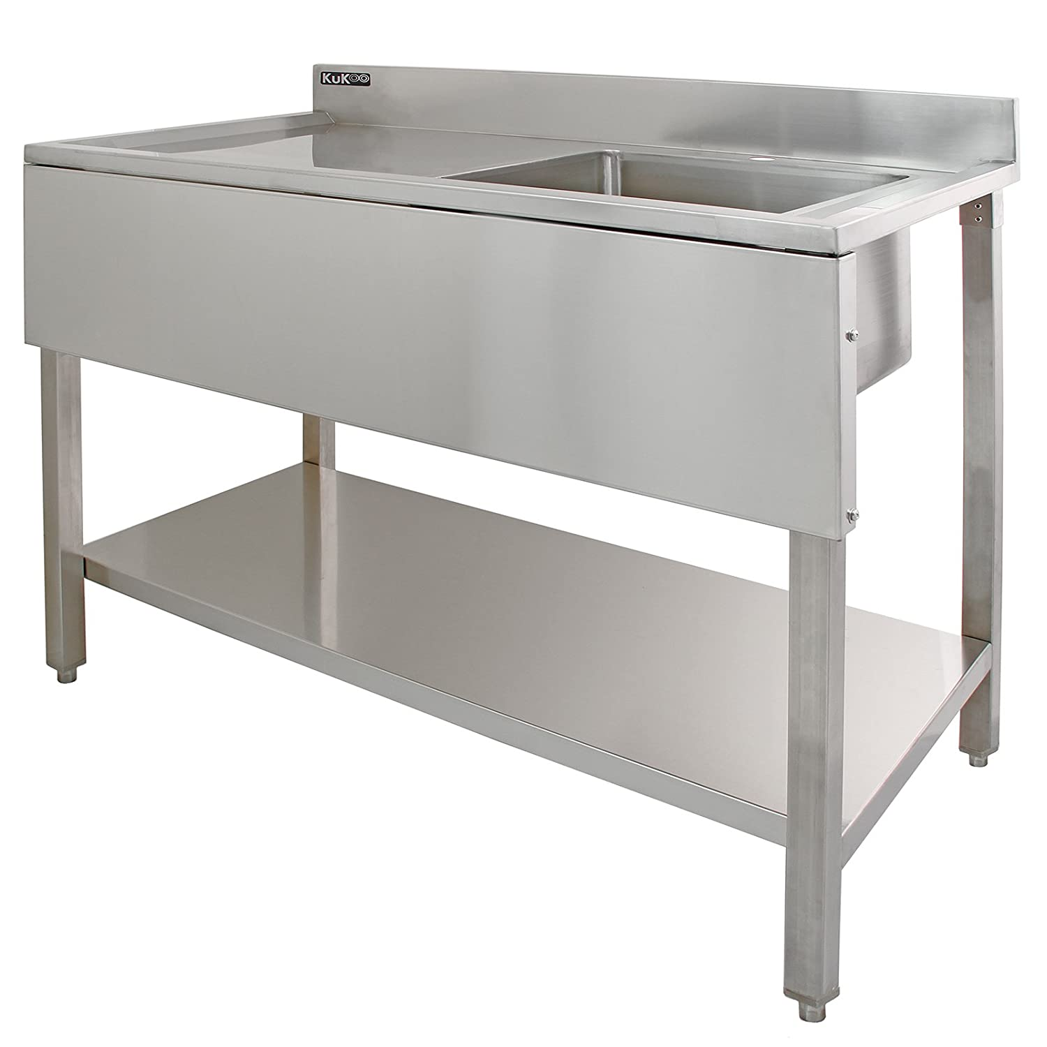 KuKoo Commercial Kitchen Catering Sink, Stainless Steel, Left Hand Drainer,  1.0 Bowl, 120cm Wide: Amazon.co.uk: Kitchen U0026 Home