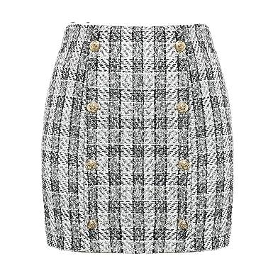 Traje de Chaqueta de Dos Piezas de Tweed a Cuadros para Mujer ...