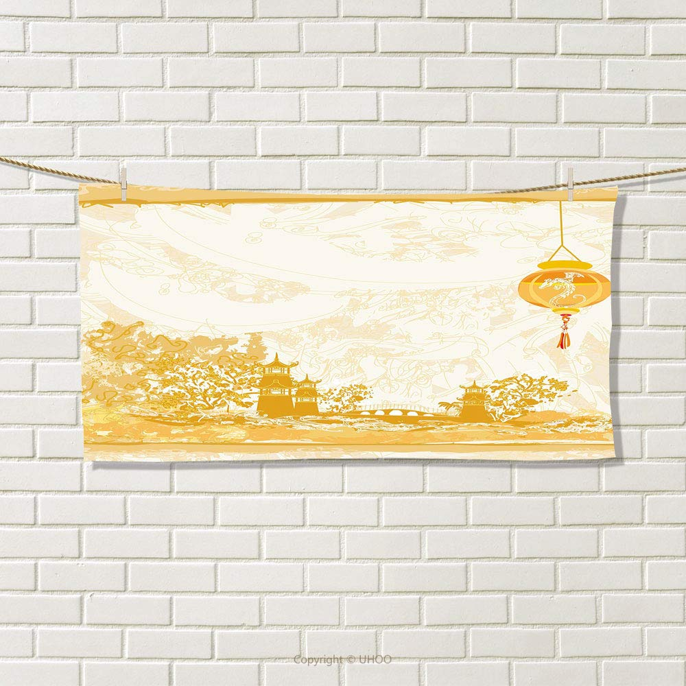 smallbeefly Lantern Travel Towel Old Paper with Ancient Japanese Buildings Depicted on Asian Retro Style Samurai Quick-Dry Towels Light Yellow Size: W 14'' x L 27.16''