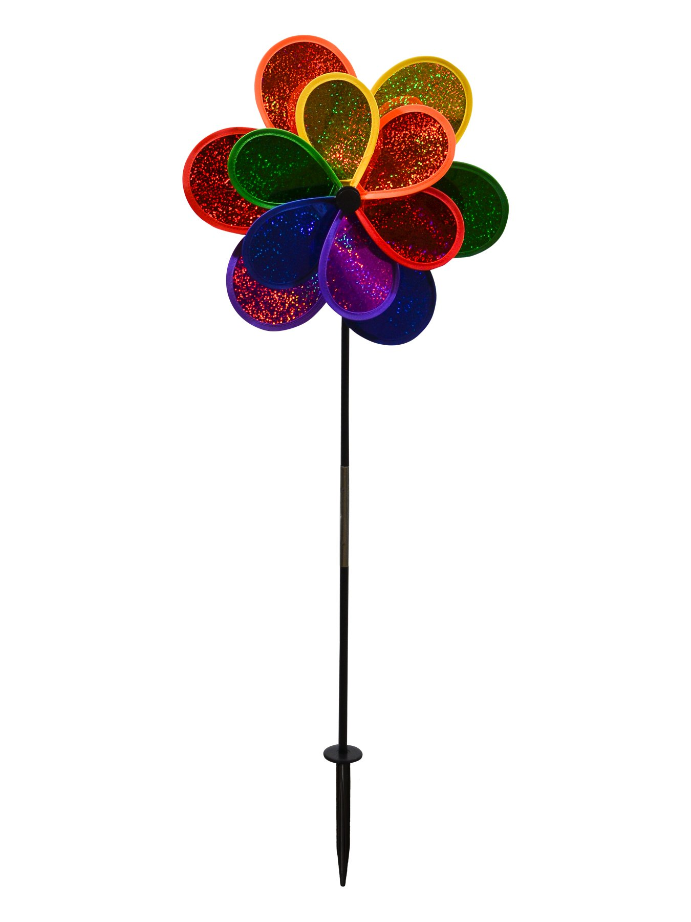 In the Breeze 2725 Mylar Rainbow Sparkle Double Flower Spinner, 14-inches by In the Breeze