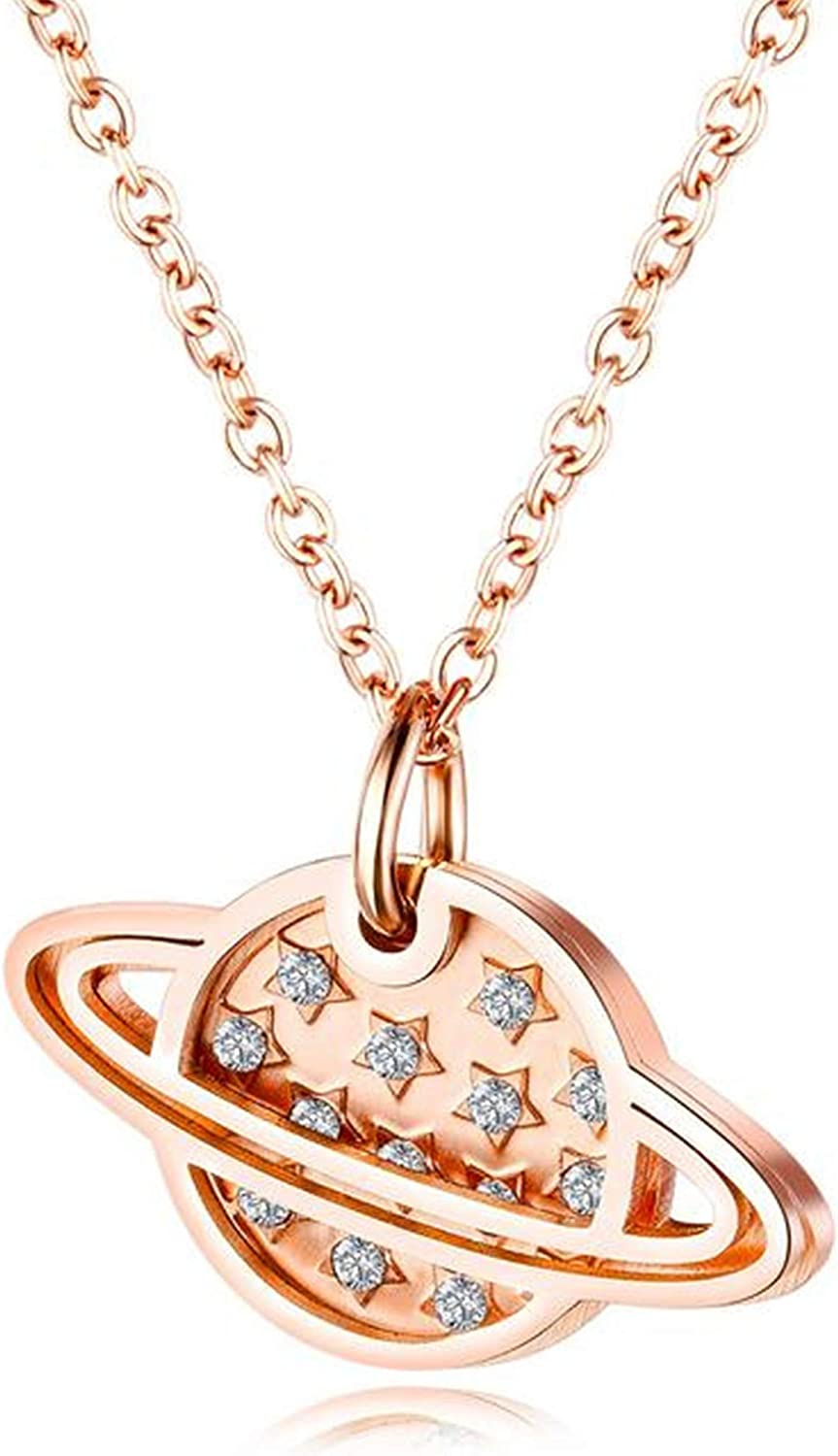 FLDC 18K Rose Gold Plated Adjustable Long Chain Pendant Necklace Personalized Fashion Jewelry