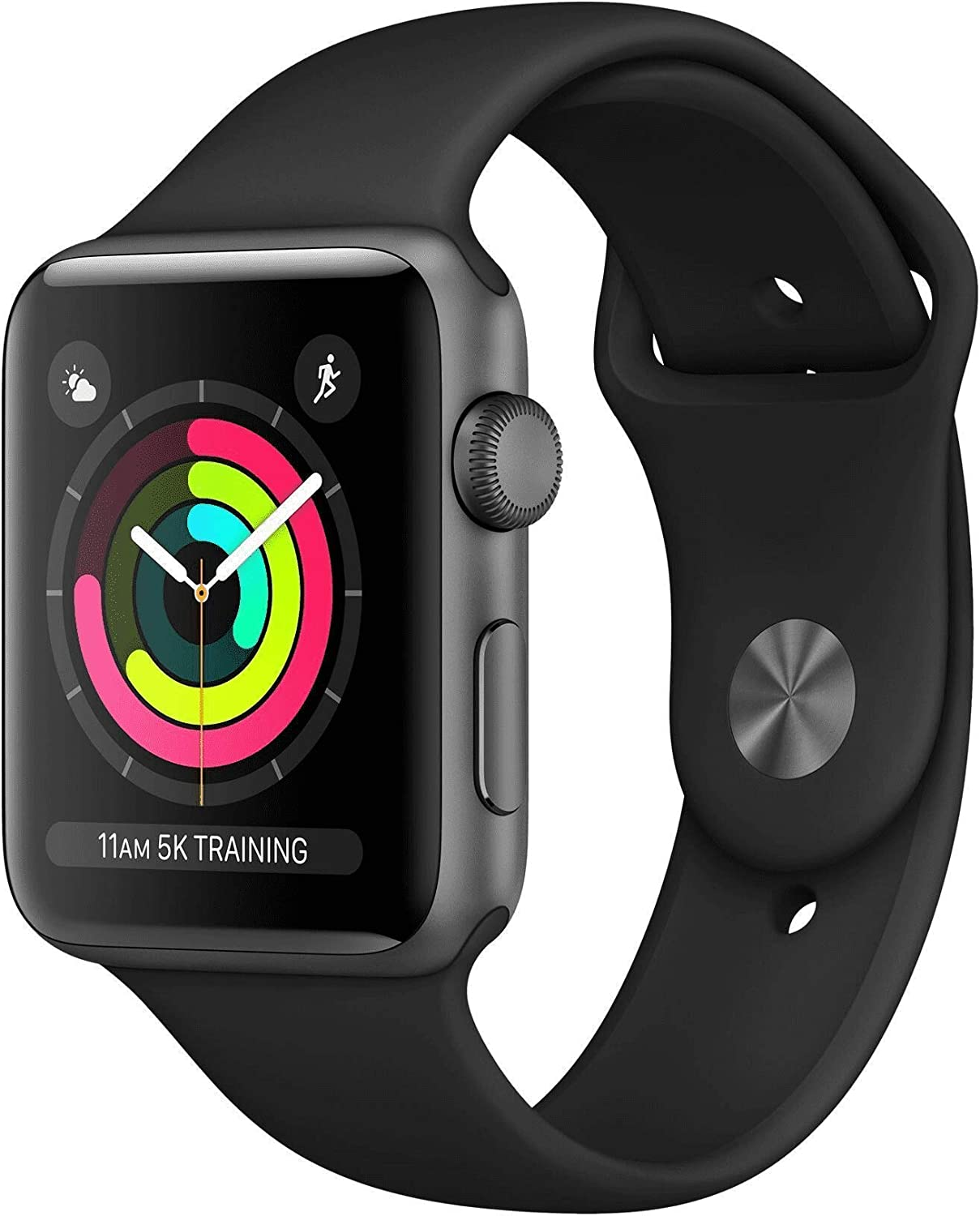 Apple Watch Series 3 (GPS, 42MM) - Space Gray Aluminum Case with Gray Sport Band (Renewed)