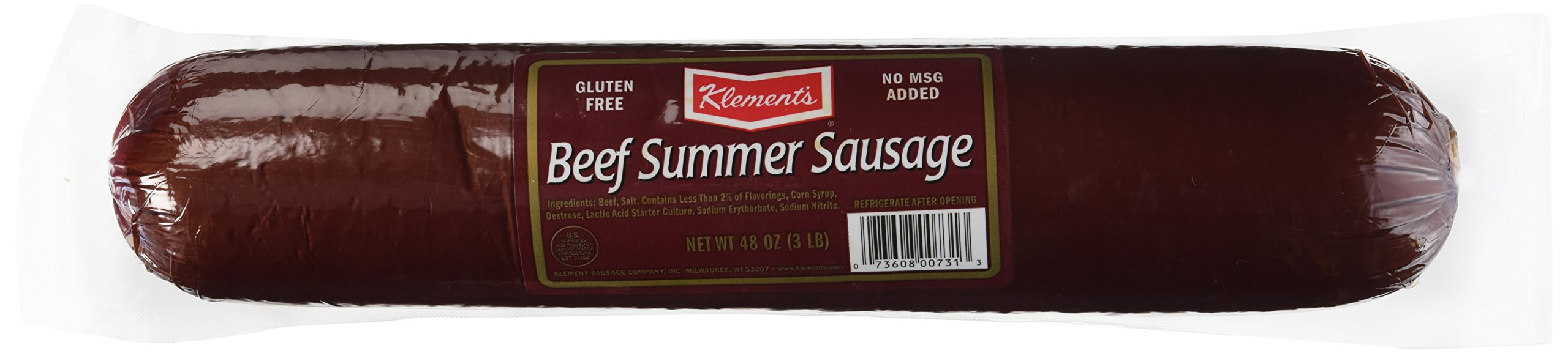 Klements beef summer sausage, 3-lb. plastic wrapped tube by Klement's (Image #1)