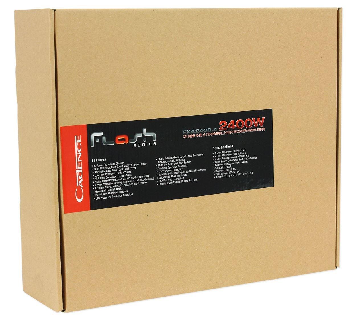 Amazon.com: Cadence FXA2400.4 2400 Watt Peak 1200w RMS 4-Channel Car Stereo Amplifier  Amp: Car Electronics