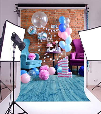 Laeacco Vinyl 5x7ft 1st Birthday Party Decoration Photography Background One Year Old Baby Color Balloons Paper