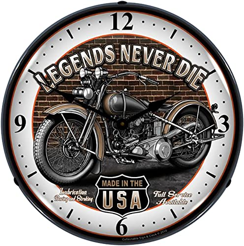 Collectable Sign and Clock SM1103308 14 Legends Motorcycle Lighted Clock
