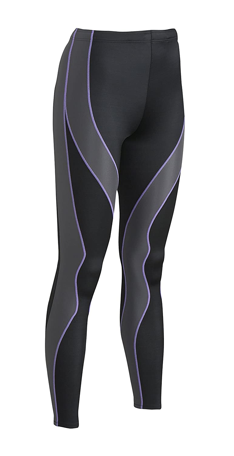 Black Grey Lavender Stitch CWX Women's Muscle Support Performx Full Length Compression Tight
