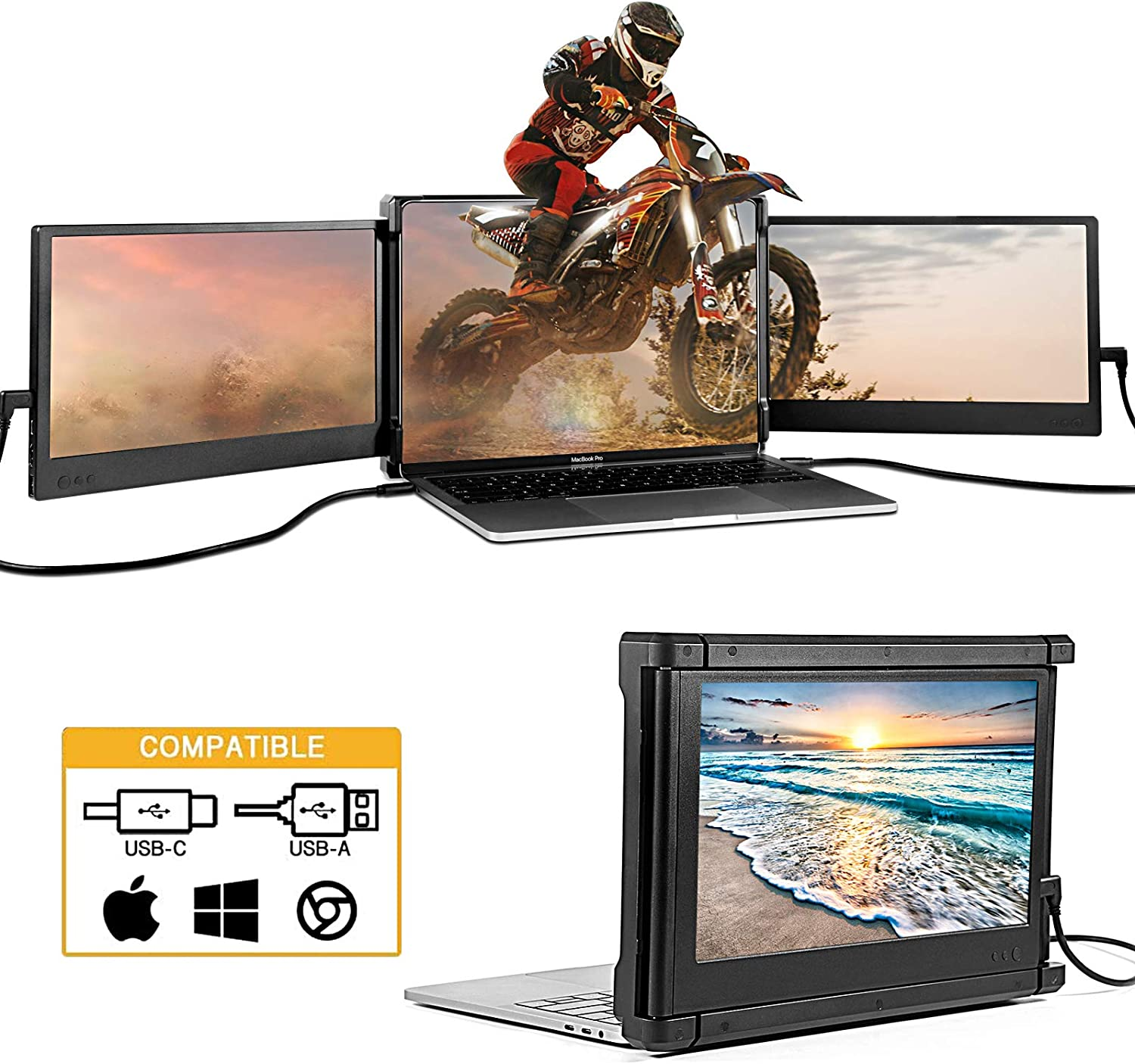 Dual Portable Monitor, Triple Screen Extended for Laptop, 11.6