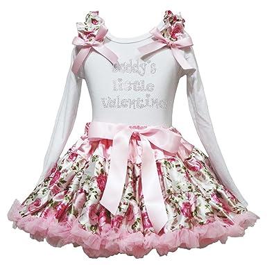 Daddy s Little Saint Valentin robe en coton blanc L S Chemise Motif floral  Rose Jupe b21097a9fd8