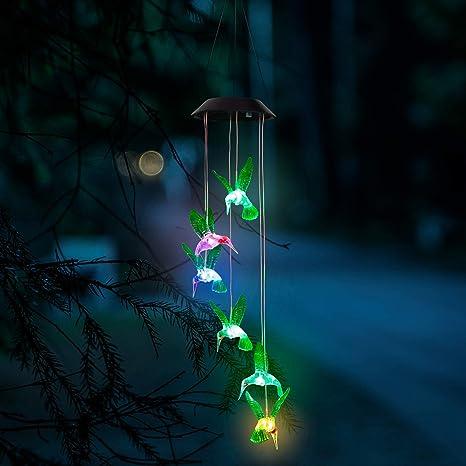 GloBrite - Campanillas de viento solares con luz LED que cambia de color con sensor automático para jardín, luces de exterior para decoración de fiestas en el hogar: Amazon.es: Iluminación