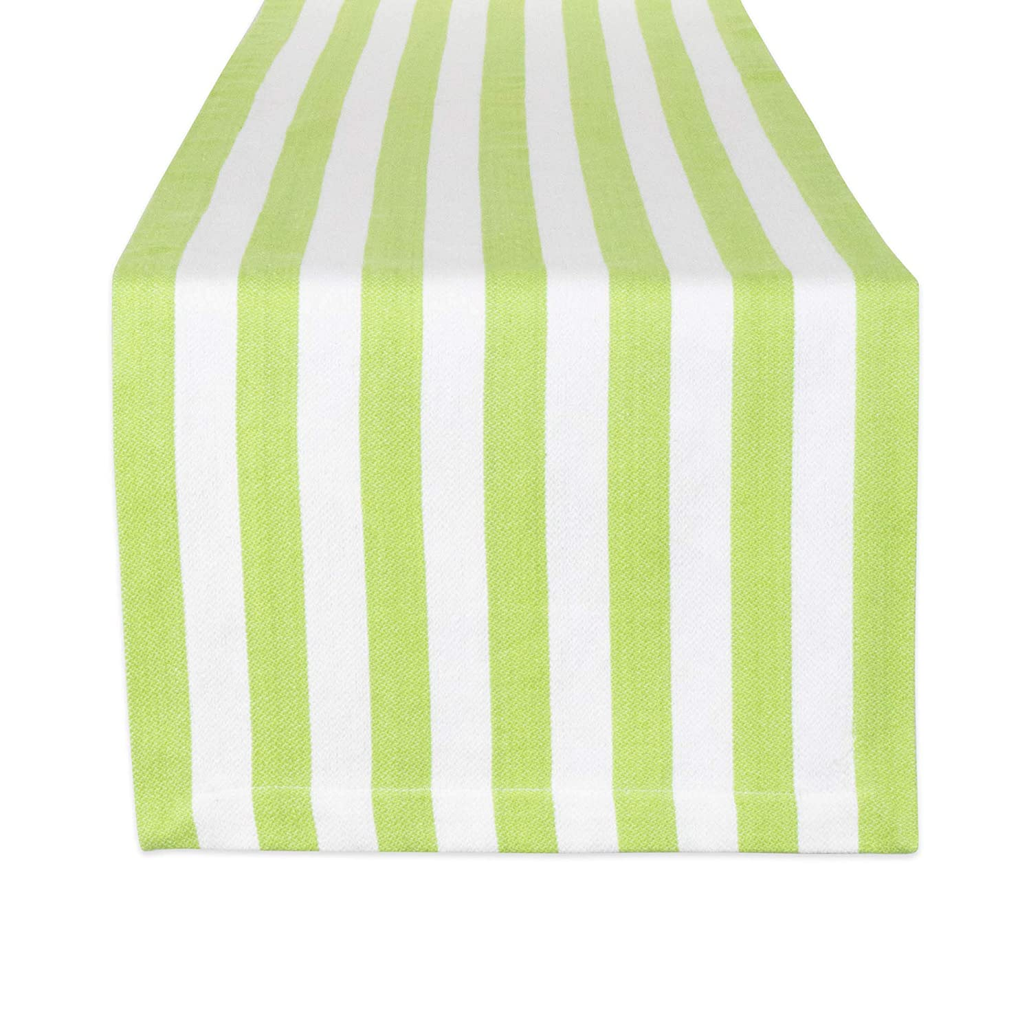 """DII 100% Cotton Cabana Stripe Tropical Table Runner, 13x72"""", Lime"""