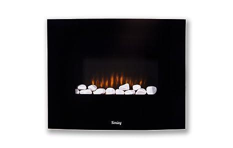 Kenley Chimenea Electrica de Pared – Efecto Llama Ardiendo - Radiador Calefactor con Termostato / Mando
