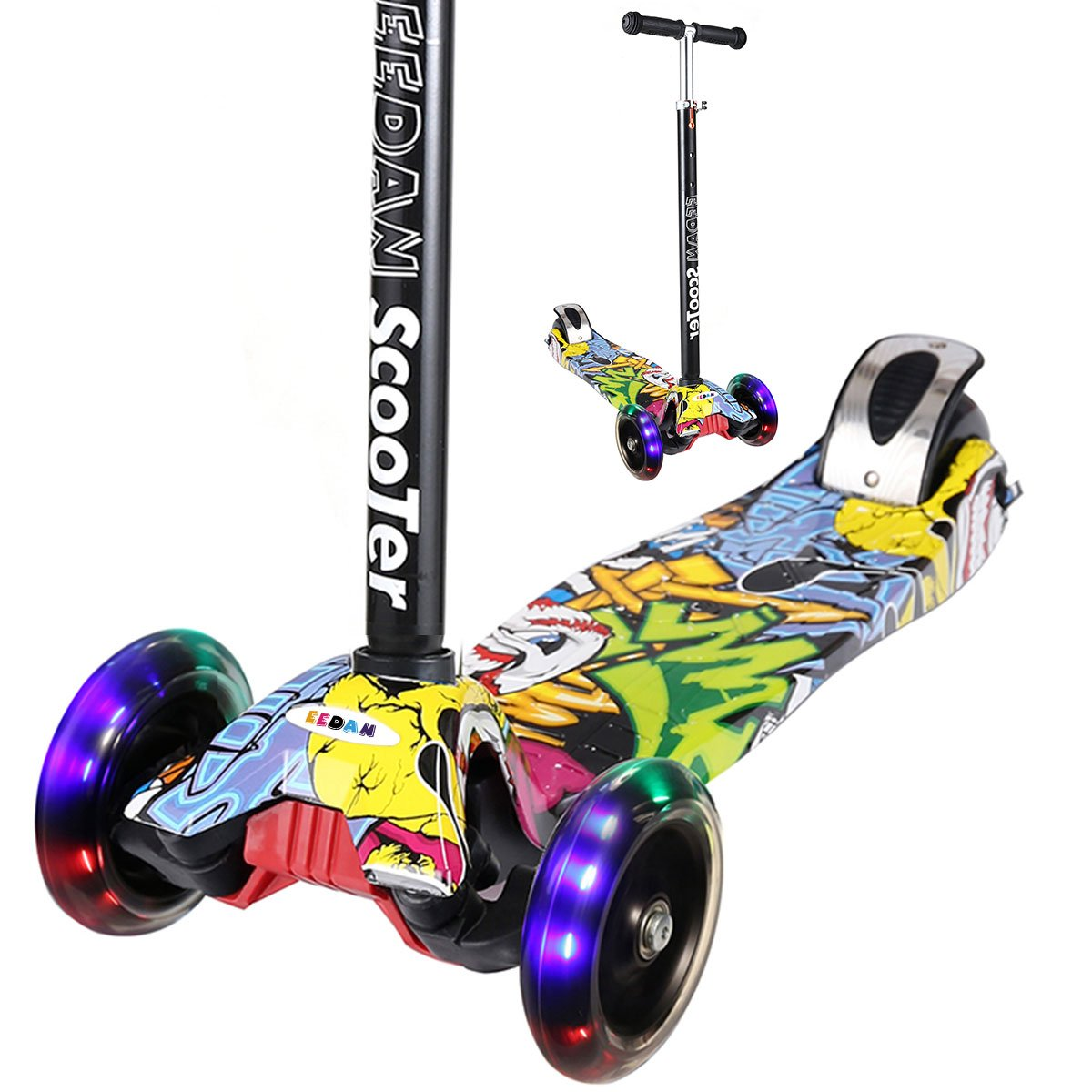 EEDAN Scooter for Kids 3 Wheel T-bar Adjustable Height Handle Kick Scooters with Max Glider Deluxe PU Flashing Wheels Wide Deck for Children from 5 to 14 Year-Old (Pop Grafitti) by EEDAN