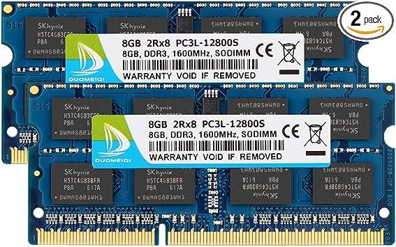 2X8GB NEW 16GB PC3L-12800S DDR3-1600 204PIN SODIMM Laptop Memory NON-ECC 1.35V