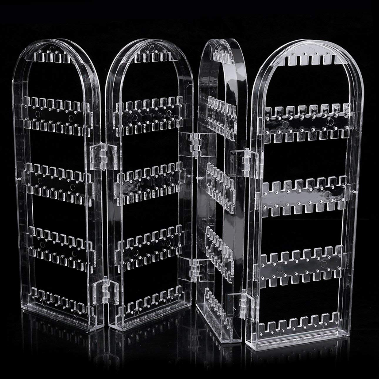Liobaba Transparent Multifunctional Plastic Folding Screen Earring Jewelry Display Stand Holder Rack Storage Box Jewelry