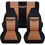Totally Covers Fits 1997-2006 Jeep Wrangler TJ Seat Covers: Black & Tan - Full Set: Front & Rear (23 Colors) 1998 1999 2000 2001 2002 2003 2004 2005 2-Door Complete Back Bench