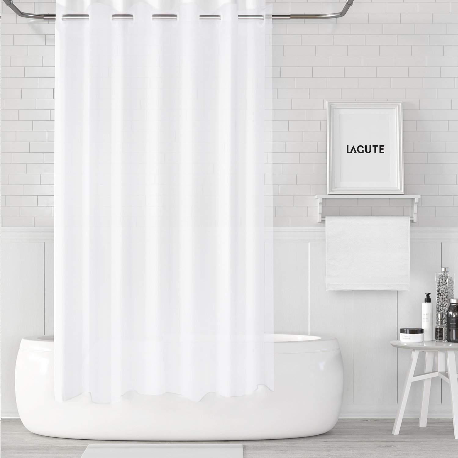 Lagute Snaphook Shower Curtain, 71 x 74 inch Translucent PEVA Bathroom Curtain with Waterproof Anti-moldy, Frosted White Color HS-201