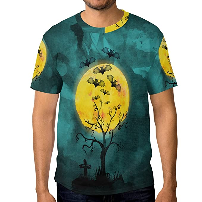 COOSUN s menâ manga acuarela de Halloween luz de la luna camisetas cortas: Amazon.es: Ropa y accesorios