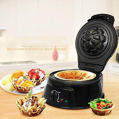 ANHPI Gaufrier 750W électrique Waffle Bowl Maker Plaques Enduites Antiadhésives Gaufrier Avec Deux Plaques Concave \u0026 Convex En Noir,Black