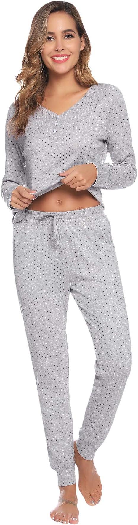 Aibrou Women Pajama Pants Cotton Striped Pajama Bottoms Sleep Pants