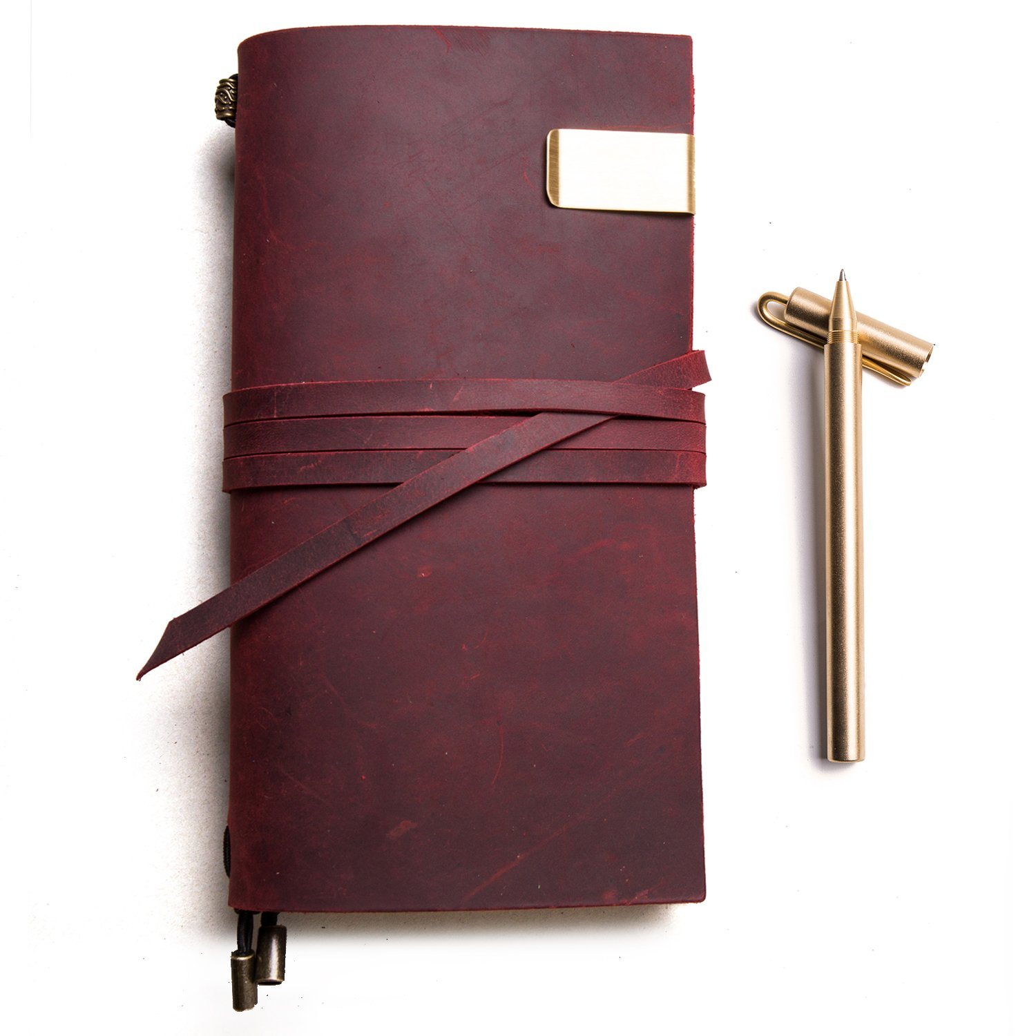 Genuine Leather Travelers Notebook + Copper Pen, Handmade Journals for Men and Women Refillable Planner,Travel to Write in,Lined Paper, Retro Accessories (Red, Standard Size)